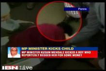 Caught on camera: Madhya Pradesh Law Minister Kusum Mehdale kicks a boy for begging alms from her
