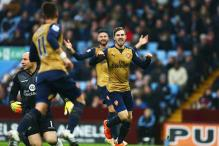 EPL: Arsenal beat Aston Villa 2-0 to move top of the table