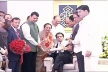 Veteran actor Dilip Kumar honoured with Padma Vibhushan at his residence