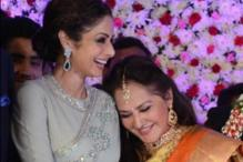 Snapshot: Jaya Prada shares a warm hug with Sridevi at the wedding reception of her son