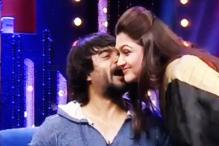 Aww, how cute! Khushbu Sundar gets a peck from R Madhavan while shooting for her popular TV show