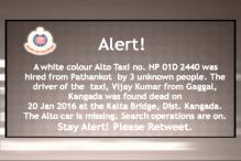 Taxi hired from Pathankot goes missing, driver found dead; police issue high alert