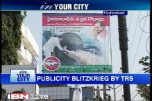 Publicity blitzkrieg by ruling TRS on Hyderabad roads