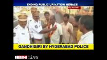 'Gandhigiri' by Hyderabad Traffic Police, garlands those who urinate in public