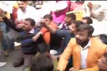 Bajrang Dal activists stage protest outside JNU campus