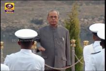 President Pranab Mukherjee reviews Naval fleet at IFR