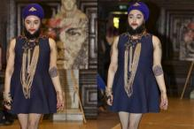 Bearded model Harnaam Kaur walks the ramp for Marianna Harutunian at Royal Fashion Day