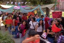 Students in DU march on Women's day demanding internal sexual harassment complaint committies