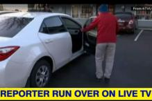 Narrow escape for TV reporter caught on camera