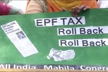 All India Mahila Congress protests outside BJP office against proposed EPF taxation