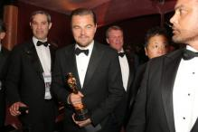 Leonardo DiCaprio gets his name etched on Oscar trophy and his childlike eagerness is worth watching