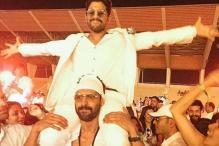 Allu Arjun looks adorable as he sits atop Rana Daggubati's shoulders at an event
