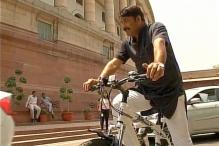 BJP MP Manoj Tiwari Pedals Bicycle to Parliament