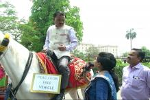Watch: BJP MP Rides a Horse to Parliament