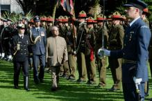 Mukherjee Rubs Nose With Maori Chief in Traditional Welcome Ceremony