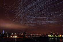 LED-Lit Pigeons Illuminate New York Skies in Art Exhibit