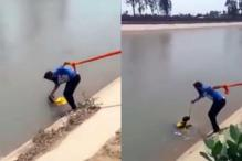 Watch: A Brave Sikh Man Uses His Turban To Rescue a Drowning Dog