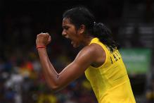 Telangana Chief Minister Presents Rs 5 Crore Cheque to PV Sindhu