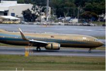 Malaysian Sultan Flies Into Australia in Gold Jet