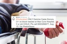 Caste Based Request for Blood Donation Causes Outrage on Twitter