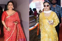 Kajol's Durga Puja Look Decoded: Chequered Sari, Silk Kurta and More