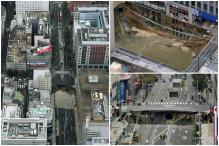 Giant Sinkhole Swallows Parts Of A Main Street In Japan