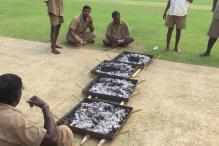 India vs England: Groundsmen Use Burning Coal to Dry Chennai Pitch
