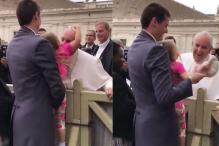 Sneaky Little Girl Steals Pope's Hat Right Off His Head Leaving Him in Splits