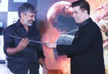 SS Rajamouli Presents Katappa's Sword to Karan Johar