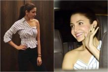 Anushka Sharma Is A Stunner In This One-Shoulder, Classic Striped Shirt