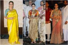 Kangana Looks Ethereal In Sarees At Manikarnika's Poster Launch Event