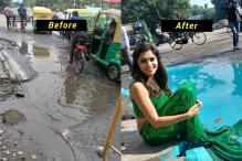 Artist Uses 'Mermaid' To Highlight Bengaluru's Pothole Problem