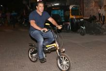Celebrity Sightings: Salman Khan Rides E-Cycle on Mumbai Roads