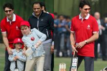 PICS: Justin Trudeau Plays Cricket with Mohammad Azharuddin
