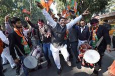 Celebrations at BJP HQ Over Gujarat, Himachal Pradesh Results