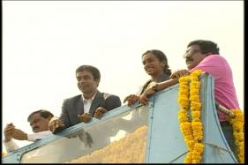 Grand Welcome for PV Sindhu