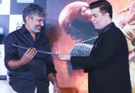 SS Rajamouli Presents Katappa's Sword to Karan Johar