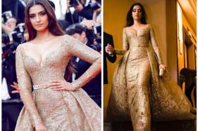 Sonam Kapoor Takes The Plunge In A Dreamy Gold Gown On Cannes Red Carpet