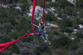 Aerial Dance Artist Performs on 111-foot-high Bridge in Greece