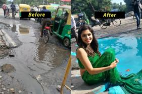 Artist Uses 'Mermaid' To Highlight Bengaluru's Pothole Problem