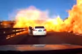 Video – Tanker Accident in China Results in Oil Spill Fire, Engulfs Cars on a Freeway