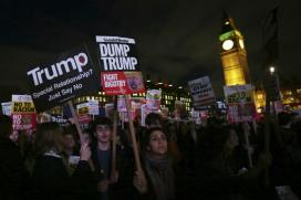 Thousands Protest Outside as British Parliament Debates Trump's UK Visit