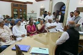 Flanked by Sonia and Manmohan, Meira Kumar Files Nomination Papers