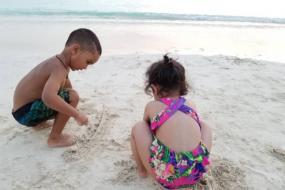Ziva and Zoravar Bond on the Sea Beach in Jolly Harbour
