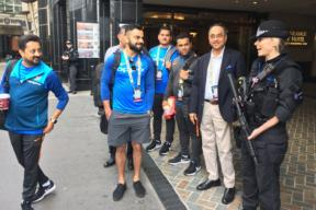 Champions Trophy: Kohli Interacts With Security Personnel in London