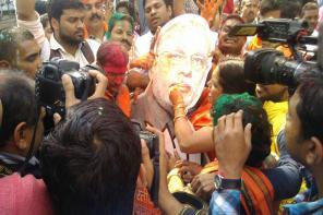 Photos: Saffron Holi in Uttar Pradesh as BJP Sweeps Assembly Polls