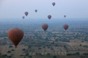 Hot air ballooning over Bagan's Buddhist Temples in Myanmar