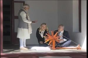 In Photos: Modi and Netanyahu Weave Khadi on Iconic Charkha at Sabarmati Ashram