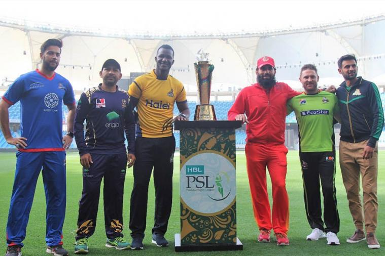 Captains pose with the PSL Trophy. (News 18)