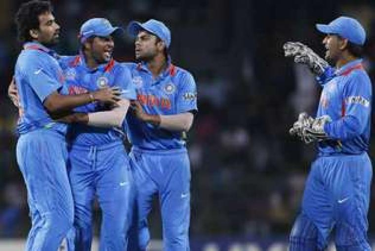 Indian team celebrates the wicket of Hashim Amla. (AP Photo)